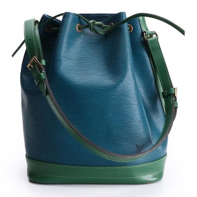 Louis Vuitton Noé Bucket Bag in Toledo Blue Epi and Borneo Green Smooth Leather