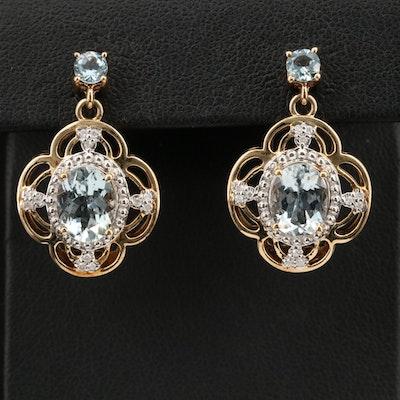 14K Aquamarine and Diamond Quatrefoil Earrings