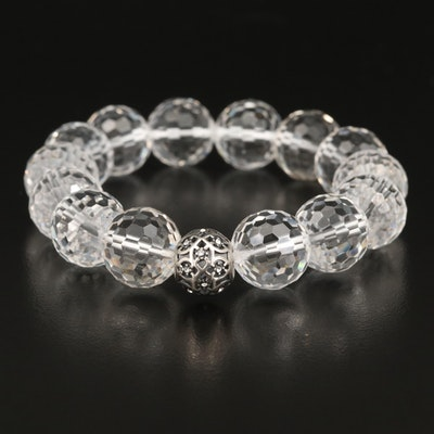Sterling Rock Quartz Crystal and Rhinestone Beaded Expandable Bracelet