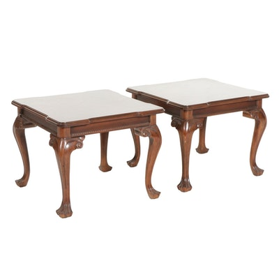 Pair of Chippendale Style Walnut Inlaid Side Tables, Late 20th Century