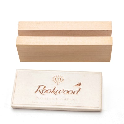 Rookwood Pottery Faïence Ceramic Tile with Ash Wood Block Display, Contemporary