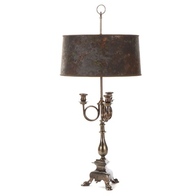 Bronzed Metal and Brass Candelabra Table Lamp with Drum Diffuser Shade
