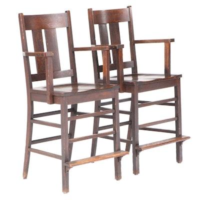 Pair of Crocker Chair Co. Arts and Crafts Quartersawn Oak Billiard Chairs