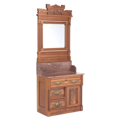 Victorian Walnut, Burl Walnut, and Rouge Marble Mirror-Back Washstand