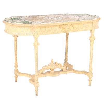 Louis XVI Style Painted and Mosaic-Decorated Salon Table