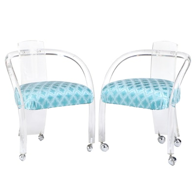 Pair of Modernist Lucite Armchairs, Possibly Charles Hollis Jones, circa 1970