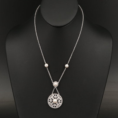 Sterling Diamond and Pearl Necklace with Milgrain Detail