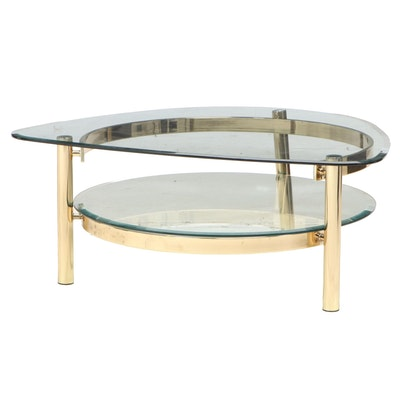 Modernist Brass and Glass Two-Tier Coffee Table, Late 20th Century