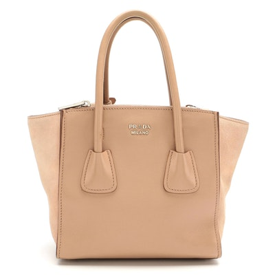 Prada Mini City Twin Pocket Tote in Beige Leather and Suede