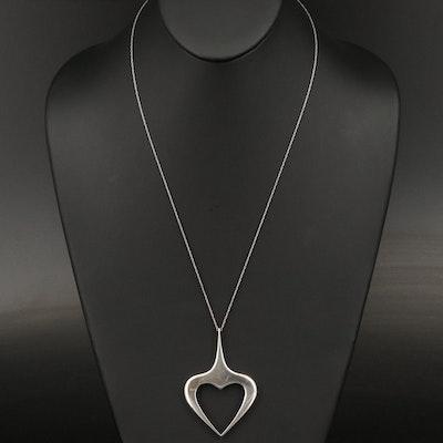 Italian UnoAErre 800 Silver Heart Pendant on Sterling Silver Chain