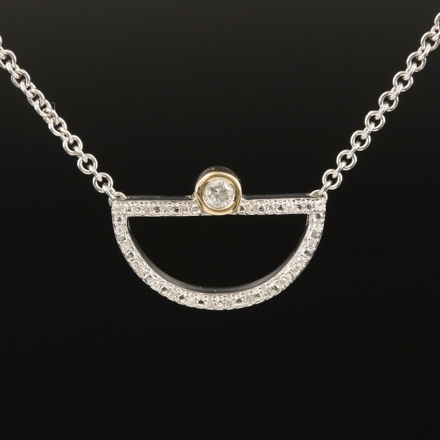 Sterling Silver Diamond Half Circle Necklace with 10K Accent