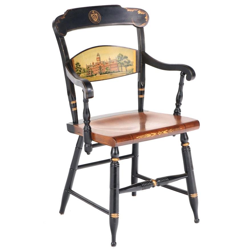 "L. Hitchcock ""Ohio State University"" Ebonized, Painted, and Parcel-Gilt Armchair"
