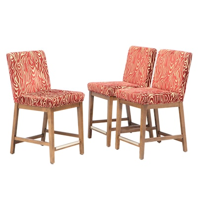 Three Canadel Furniture Upholstered Counter-Height Bar Stools