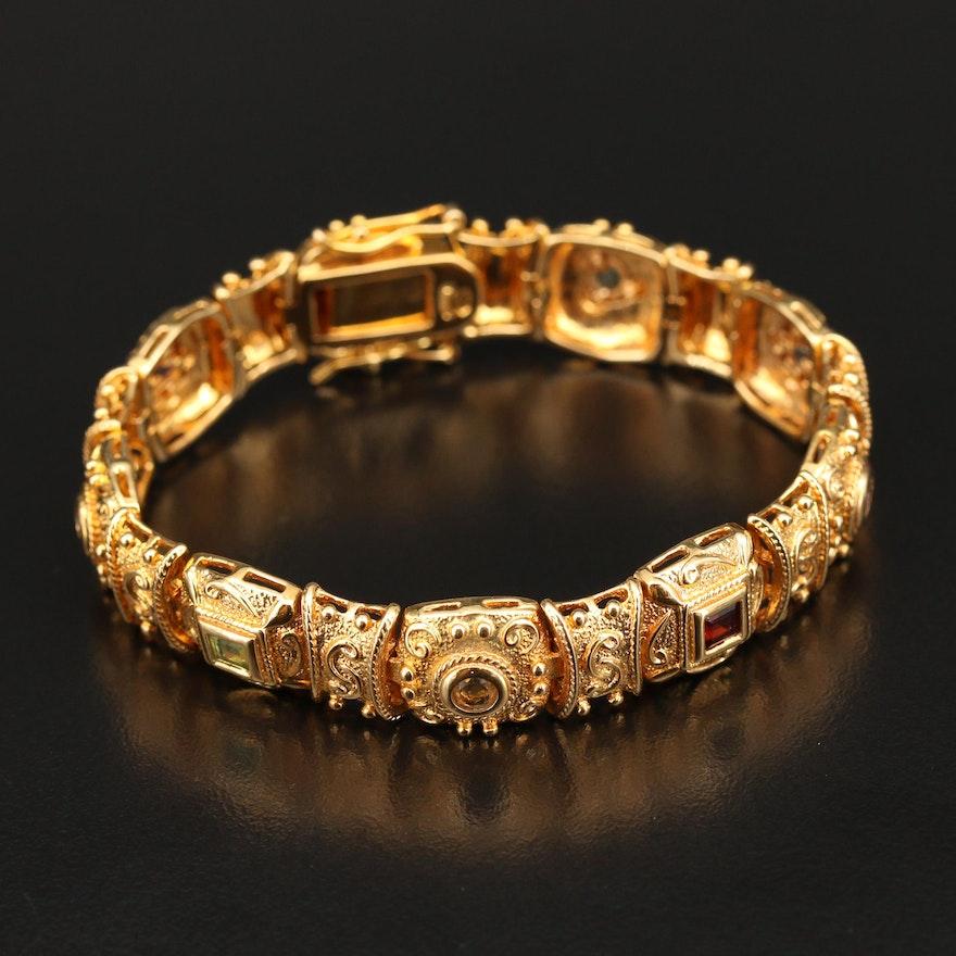 Etruscan Style Sterling Topaz and Gemstone Panel Bracelet