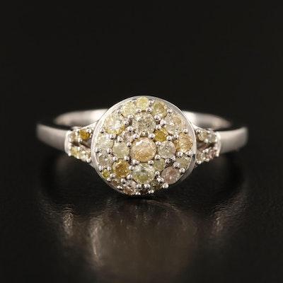 Sterling Silver Pavé Diamond Cluster Ring