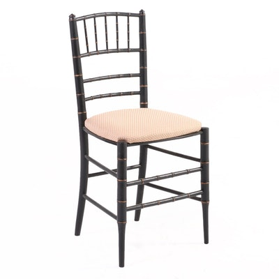 Victorian Style Ebonized and Gilt-Incised Faux-Bamboo Ballroom Chair