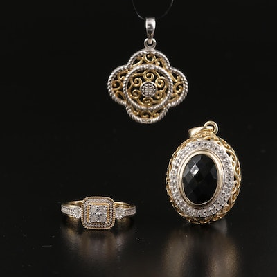Sterling Silver Pendant and Rings Featuring Diamond, Black Onyx and White Topaz