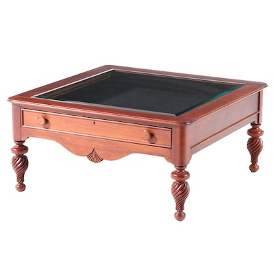 Lexington Furniture Federal Style Mahogany and Glass Top Vitrine Coffee Table