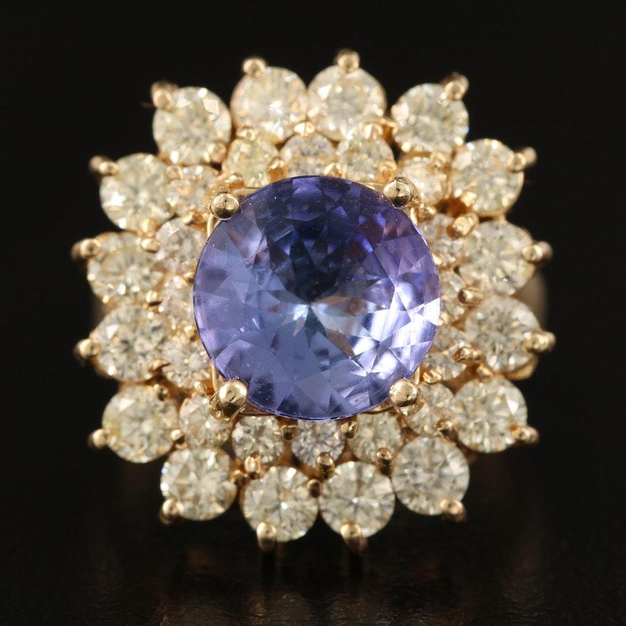 14K 3.23 CT Tanzanite and 2.56 CTW Diamond Ring