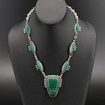 Vintage Mexican Diaz Santoyo Sterling Glass Necklace