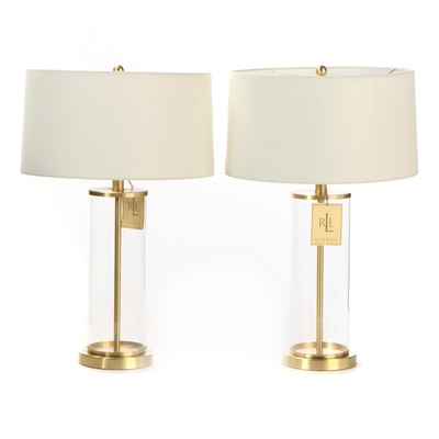 Ralph Lauren Glass and Brass Fillable Cylinder Table Lamps