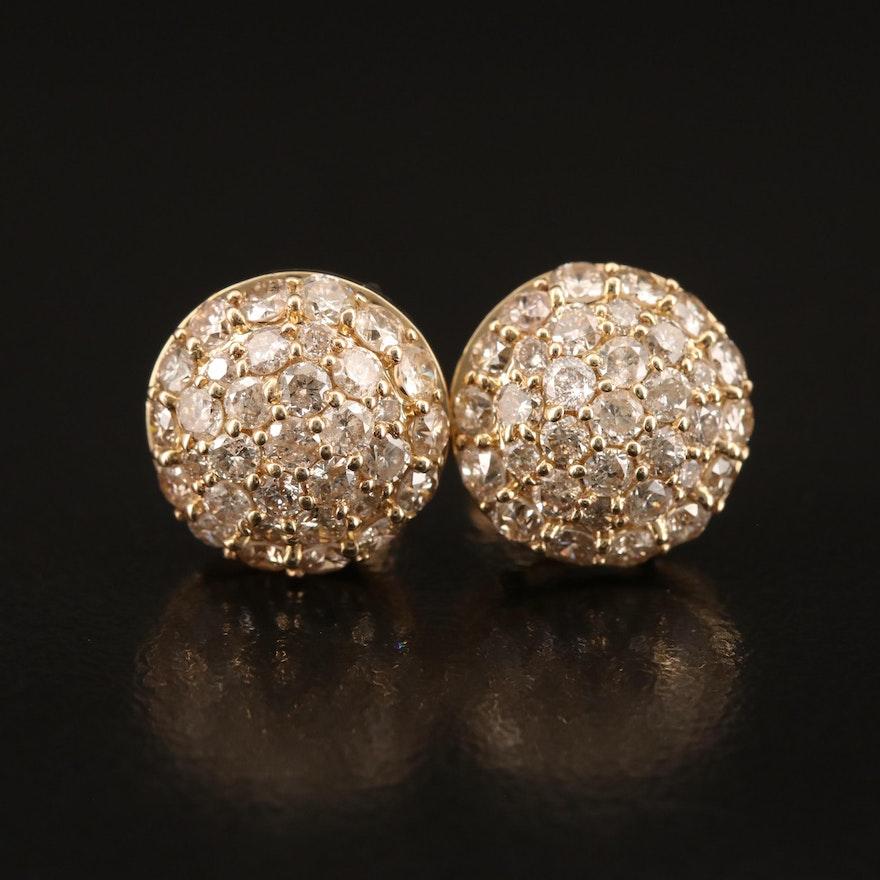 14K Pavé 1.97 CTW Diamond Stud Earrings