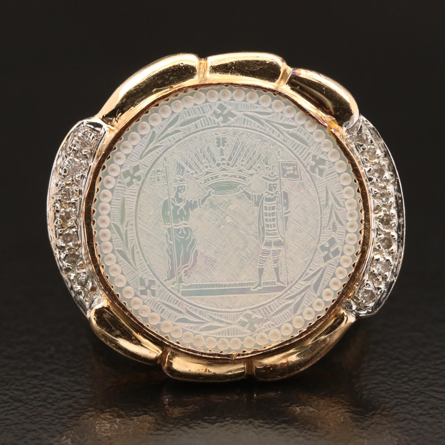 14K Carved Figural Mother of Pearl Seal and Diamond Ring