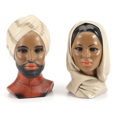 Marwal Chalkware Male and Female Busts, Mid-20th Century
