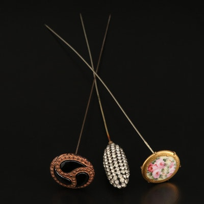 Rhinestone, Painted Porcelain and Faceted Glass Hat Pins