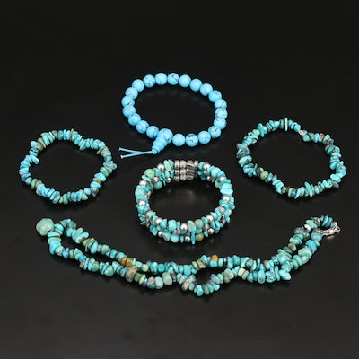 Sterling Turquoise and Howlite Jewelry Featuring Relios Multi-Row Bracelet