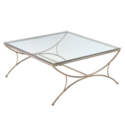 Neoclassical Style Patinated Metal and Glass Top Curule-Form Coffee Table