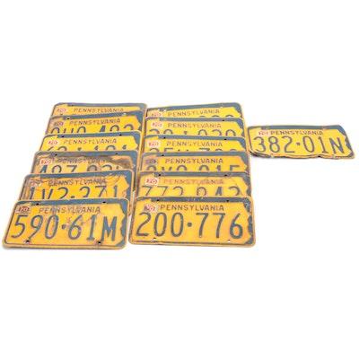 Pennsylvania Metal Automobile License Plates, 1970