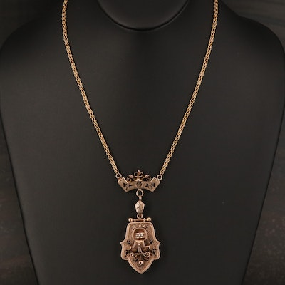 Victorian 10K and 14K Taille d'Epargné Mourning Locket Necklace