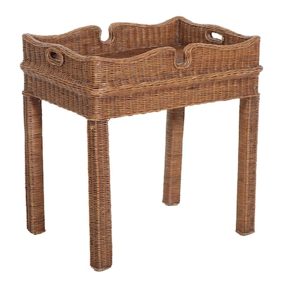Wicker Tray Top Side Table, Late 20th Century