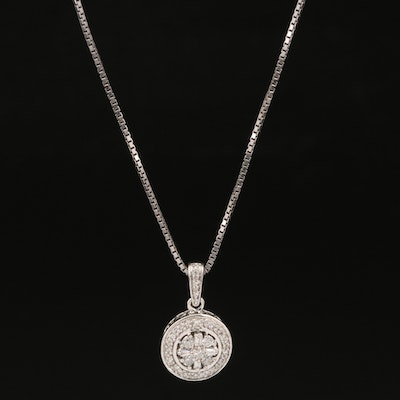 Sterling Silver Diamond Cluster Halo Pendant Necklace