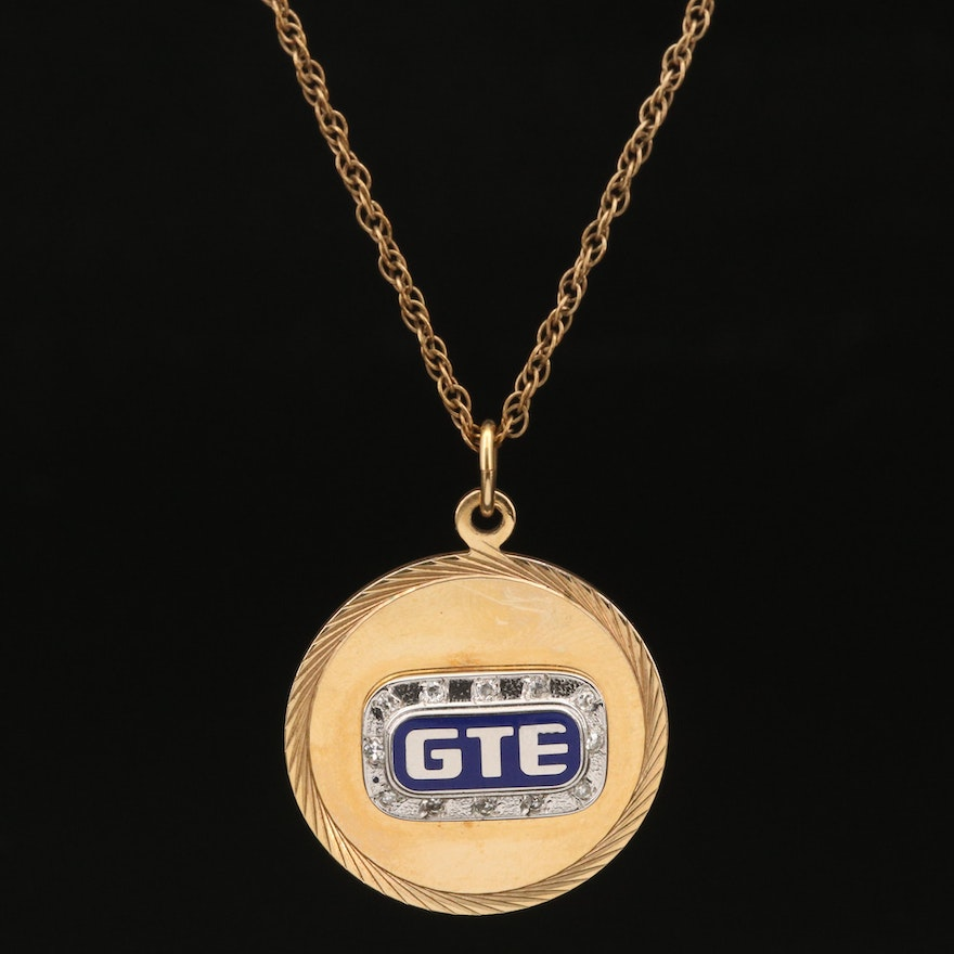 10K GTE Corp. Service Award Pendant on Loose Rope Chain Necklace