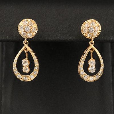 14K 1.55 CTW Diamond Earrings with Palladium Accents
