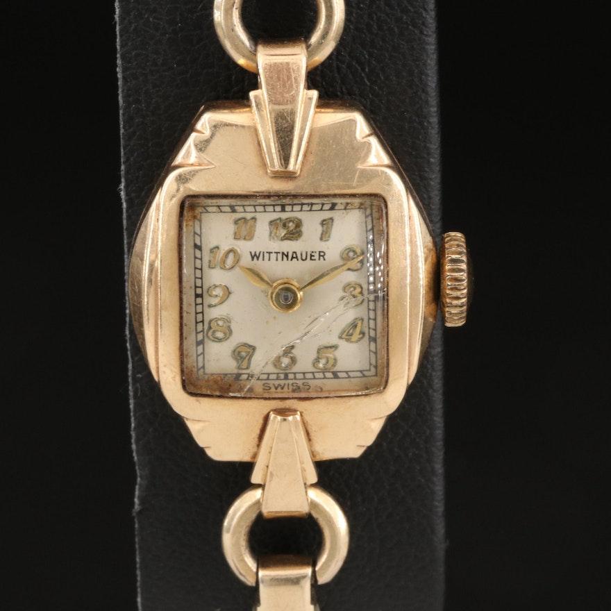 Vintage Wittnauer 10K Yellow Gold Stem Wind Wristwatch