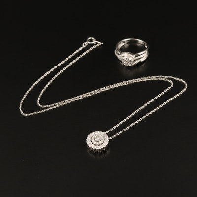 Sterling Diamond Ring and Necklace