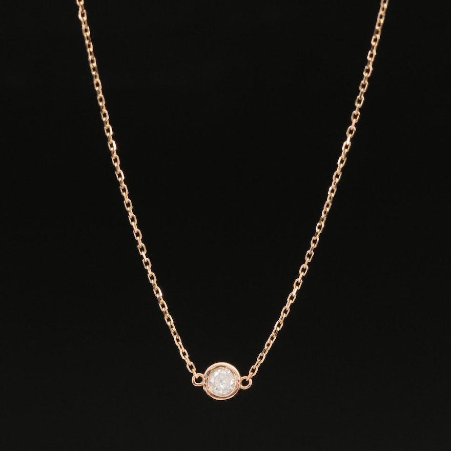 18K 0.21 CT Diamond Solitaire Necklace