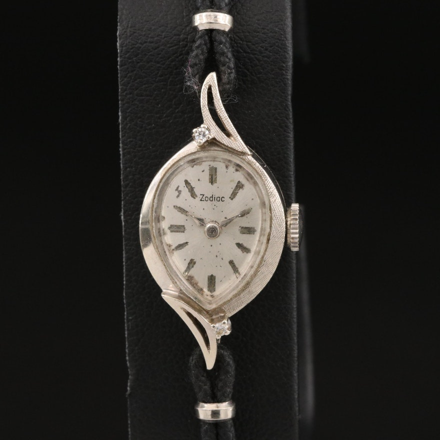 Vintage Zodiac Diamond and 14K White Gold Stem Wind Wristwatch