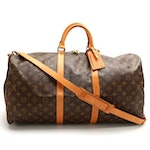 Louis Vuitton Keepall 55 Bandoulière Duffle Bag in Monogram Canvas and Leather