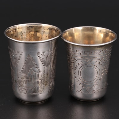 Imperial Russian 84 Zolotniki Chased Vodka Cups, Late 19th/Early 20th Century