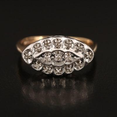 14K Diamond East-West Ring