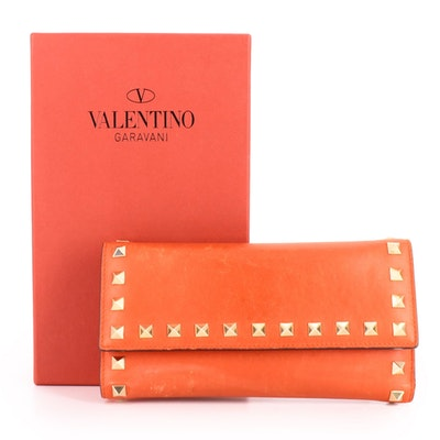 Valentino Garavani Rockstud Front Flap Wallet in Red Leather