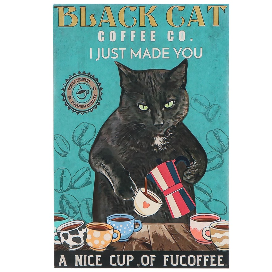 Giclée Poster Black Cat Pouring Coffee, 21st Century