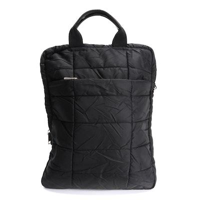 Prada Black Quilted Tessuto Nylon Travel Zip Tote