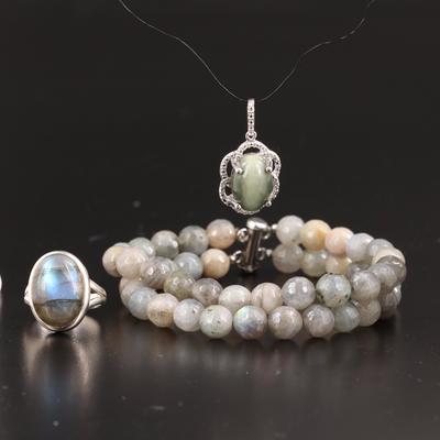 Sterling Silver Jewelry Featuring Cat's Eye Quartz and Labradorite