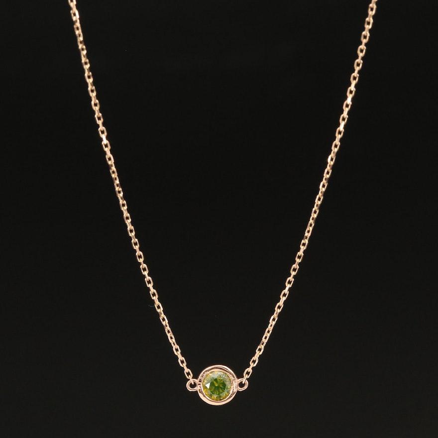 18K 0.36 CT Diamond Solitaire Pendant Necklace