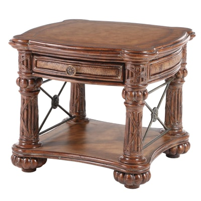 Neoclassical Style End Table with Embossed Leather Top